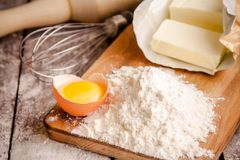 Baking cookies, ingredients for cakes Royalty Free Stock Photo