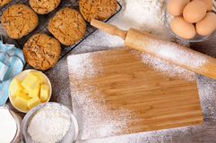 Baking cookies with ingredients Royalty Free Stock Photography