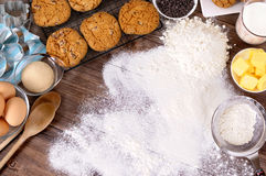 Baking cookies with ingredients Stock Images