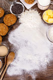 Baking cookies with ingredients Royalty Free Stock Images