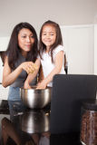 Baking Cookies Recipe on Digital Tablet Stock Image