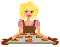 Baking cookies. Woman baking cookies isolated vector Royalty Free Stock Photography