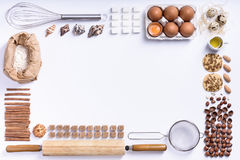 Baking or cooking background frame. Ingredients, kitchen items f Royalty Free Stock Photos
