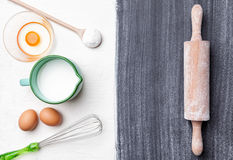 Baking and cooking concept, variety of ingredients and utensils Royalty Free Stock Photo
