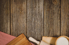 Baking or cooking ingredients top view on vintage wooden background Royalty Free Stock Photo