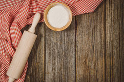 Baking or cooking ingredients top view on vintage wooden background Royalty Free Stock Photography