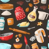 Baking cooking vector ingredients bake making cakes cook pastry prepare kitchen utensils homemade food preparation Stock Photography