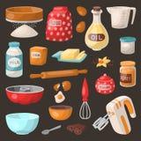 Baking cooking vector ingredients bake making cakes cook pastry prepare kitchen utensils homemade food preparation. Bakeware illustration bowl, sugar, powder Stock Photos