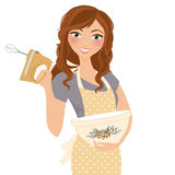 Baking cooking Woman. Woman with hand mixer and baking bowl vector illustration
