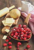 Baking a Cranberry Chocolate Tart. Baking a Cranberry White Chocolate Tart Stock Image