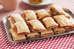 Baking crispy toast with sugar and strawbery jam stock images