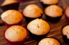 Baking cupcake, muffins on Oven-tray close up. Delicious baking chocolate cupcake, baking chocolate muffins stock photos