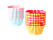 Baking cups. Cupcake silicone baking cups isolated on white Royalty Free Stock Photos