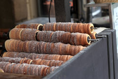 Baking of czech trdelnik Royalty Free Stock Photos