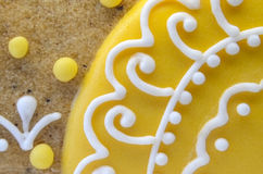 Baking Decoration. Close-up of part of gingerbread Royalty Free Stock Photo