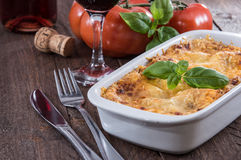 Baking dish with Lasagne Royalty Free Stock Images