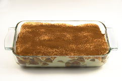 A baking dish of Tiramisu Stock Photography