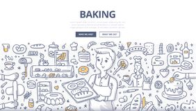 Baking Doodle Concept. Doodle vector illustration of a baker demonstrating fresh bread on a tray. Bakery production, bread shop and baking concept for web Royalty Free Stock Images