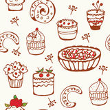 Baking doodle seamless pattern Royalty Free Stock Images
