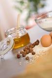 Baking dough ingredients, honey, eggs, flour Royalty Free Stock Image