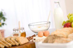 Baking dough ingredients, honey, eggs, flour Royalty Free Stock Images
