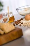Baking dough ingredients, honey, eggs, flour Stock Images