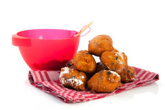 Baking Dutch traditional oliebollen Royalty Free Stock Photography