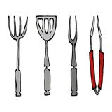 Baking Equipment or Barbeque Tools. Tongs for BBQ, Fork and Spatula. Isolated On a White Background. Realistic Doodle Cartoon Styl. Baking Equipment or Barbeque vector illustration