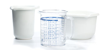 Baking equipment: Two bowls and measuring jug Stock Photos