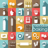 Baking flat set. Stock Images