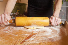 Baking - Flattening Dough with Roller Pin Stock Images