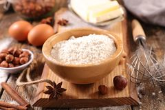 Baking food ingredient. On wood royalty free stock photography