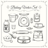 Baking food ingredients and kitchen tools in hand. Drawn vector style. Food cooking pastry, sieve and scales, flour and sugar illustration Stock Image