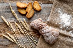 Baking fresh wheaten bread on bakery work table background top view Royalty Free Stock Photography
