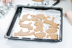 Baking gingerbread cookies Stock Photo