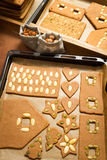 Before and after baking gingerbread cookies Stock Image