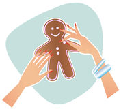 Baking a gingerbread man Royalty Free Stock Images