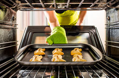Baking Gingerbread man in the oven. View from the inside of the oven. Cooking in the oven Stock Images