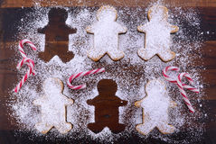 Baking Gingerbread Men for Christmas Royalty Free Stock Photography