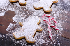 Baking Gingerbread Men for Christmas Stock Photography