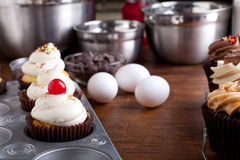 Baking Gourmet Cupcakes Stock Images
