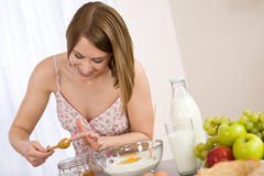 Baking - Happy woman with healthy ingredient Royalty Free Stock Photography