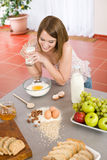 Baking - Happy woman prepare healthy ingredients Royalty Free Stock Image