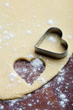 Baking heart cookies Royalty Free Stock Photo