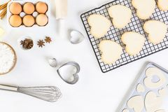 Baking. Heart shaped sugar cookies for Valentines Day royalty free stock image