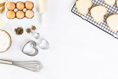 Baking. Heart shaped sugar cookies for Valentines Day royalty free stock images