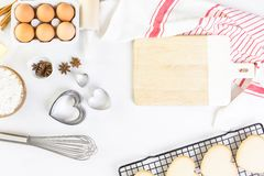 Baking. Heart shaped sugar cookies for Valentines Day stock photography