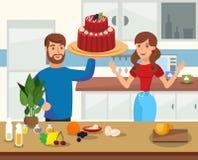 Baking at Home Flat Cartoon Vector Illustration stock illustration