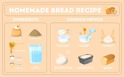 Baking homemade bread recipe. Flour and yeast royalty free illustration
