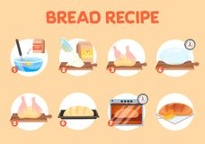 Baking homemade bread recipe. Flour and yeast stock illustration